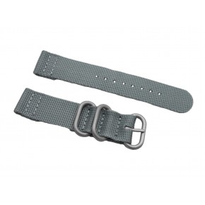 HNS 2 Pieces Grey Heavy Duty Ballistic Nylon Watch Strap With 3 Matte  Stainless Steel Rings