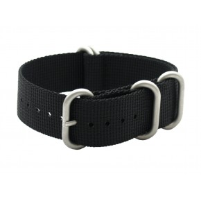 HNS Black Heavy Duty Ballistic Nylon Watch Strap With 5 Matte Stainless Steel Rings