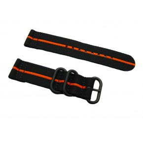 HNS 2 Pieces Black with Orange Heavy Duty Ballistic Nylon Watch Strap With 3 PVD Rings