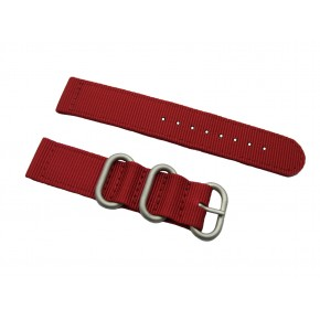 HNS 2 Pieces Red Heavy Duty Ballistic Nylon Watch Strap With 3 Matte  Stainless Steel Rings