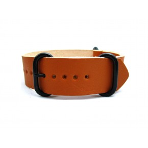HNS Handmade Reto Style Honey Calf Leather Watch Strap With 3 PVD Coated Stainless Steel Rings