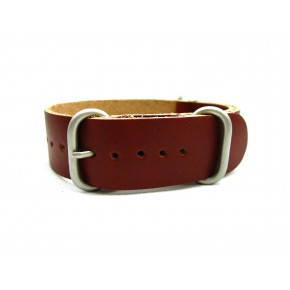 HNS Handmade Coffee Calf Leather Watch Strap With 3 Matt Stainless Steel Rings
