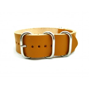 HNS Handmade Merigold Calf Leather Watch Strap With 5 Polished Stainless Steel Rings