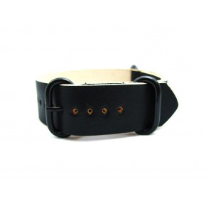 HNS Handmade Reto Style Black Calf Leather Watch Strap With 3 PVD Coated Stainless Steel Rings
