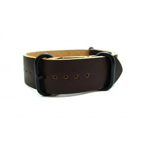HNS Handmade Reto Style Dark Brown Calf Leather Watch Strap With 3 PVD Coated Stainless Steel Rings