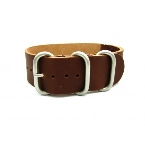 HNS Handmade Brown Calf Leather Watch Strap With 5 Matt Stainless Steel Rings