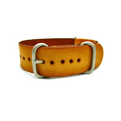 HNS Handmade Reto Washing Style Honey Calf Leather Watch Strap With 3 Matt Stainless Steel Rings