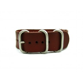 HNS Handmade Chocolate Brown  Calf Leathe Watch Strap With 5 Matt Stainless Steel Rings