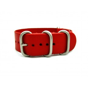 HNS Handmade Red Calf Leather Watch Strap With 5 Matt Stainless Steel Rings