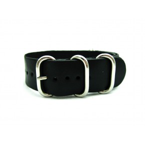 HNS Handmade Black Calf Leather Watch Strap With 5 Polished Stainless Steel Rings