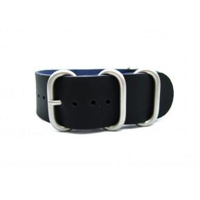 HNS Handmade Matt Black Calf Leather Watch Strap With 5 Matt Stainless Steel Rings