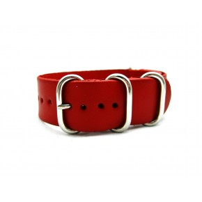 HNS Handmade Red Calf Leather Watch Strap With 5 Polished Stainless Steel Rings