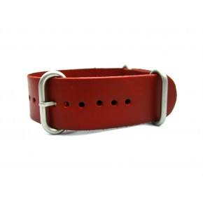 HNS Handmade Red Brown Calf Leather Watch Strap With 3 Matt Stainless Steel Rings