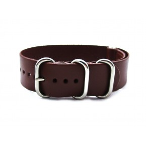 HNS Handmade Dark Brown Calf Leather Watch Strap With 5 Polished Stainless Steel Rings