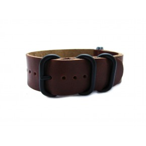 HNS Handmade Vintage Style Dark Brown Calf Leather Watch Strap With 5 PVD Coated Stainless Steel Rings
