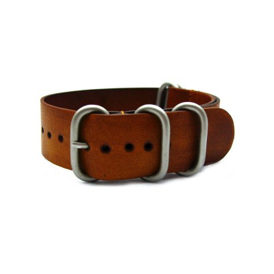 HNS Handmade Vintage Washing Style Honey Calf Leather Watch Strap With 5 Matte Stainless Steel Rings