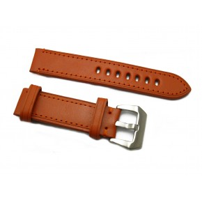 HNS Handmade Red Brown Calf Leather Watch Strap With 2 Leather Rings