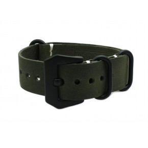 HNS Handmade Antique Vintage Style Olive Calf Leather Watch Strap With PVD Coated PRE-V Buckle