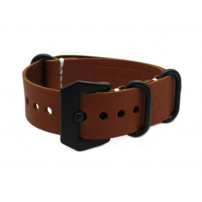 HNS Handmade Antique Vintage Style Honey Calf Leather Watch Strap With PVD Coated PRE-V Buckle