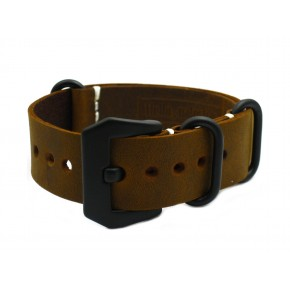 HNS Handmade Antique Vintage Style Brown Calf Leather Watch Strap With PVD Coated PRE-V Buckle