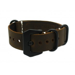 HNS Handmade Antique Vintage Style Dark Brown Calf Leather Watch Strap With PVD Coated PRE-V Buckle