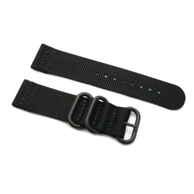 HNS 2 Pieces Black Heavy Duty Ballistic Nylon Watch Strap With 3 PVD Coated Stainless Steel Rings