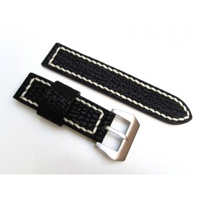 HNS 24MM Handmade Black Sharkskin Watch Strap With Handed White Sewn In PRE-V Brushed  Buckle