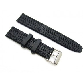 HNS 19MM BLACK SILICONE DIVER RUBBER TIRES LINES WATCH STRAP