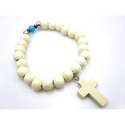 WHITE CROSS TURQUOISE WOODEN BEAD BRACELET