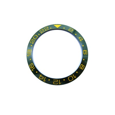 GREEN WITH GOLDEN NUMBERS CERAMIC BEZEL FOR GMT II MASTER WATCH