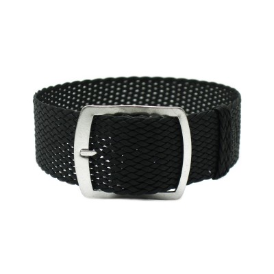 HNS 22MM Black Perlon Tropic Braided Woven Strap With Brushed Stainless Steel Buckle