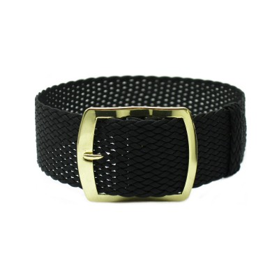 HNS 22MM Black Perlon Tropic Braided Woven Strap With Gold Brushed Stainless Steel Buckle