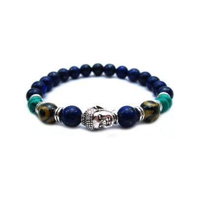 Lapiz lazuli stone beads Jewelry Sets Silver Buddha Men Black Yoga Bracelet