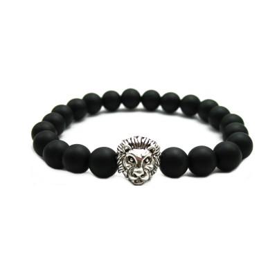 Matte Agate Stone Beads Antique Silver Liao Head Bracelet