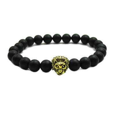Matte Agate Stone Beads Antique Gold Liao Head Bracelet