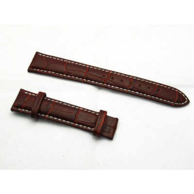 HNS 18MM BROWN GENUINE LEATHER CROCO GRAIN WATCH STRAP WITH WHITE LINE