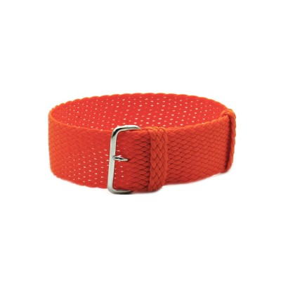 HNS Orange Perlon Tropic Braided Woven Strap With Brushed Stainless Steel Buckle