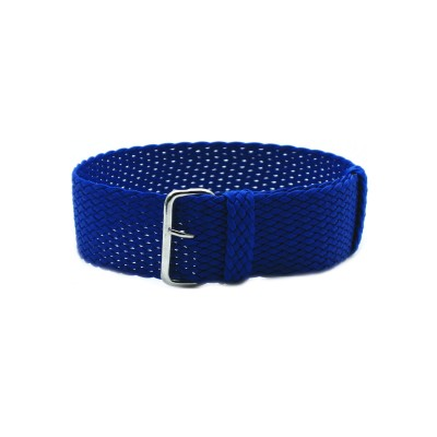 HNS Blue Perlon Tropic Braided Woven Strap With Brushed Stainless Steel Buckle
