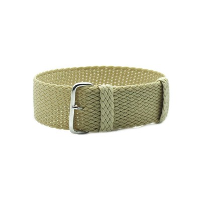 HNS Beige Perlon Tropic Braided Woven Watch Strap With Brushed Stainless Steel Buckle
