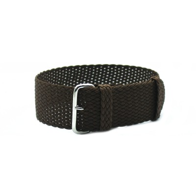 HNS Coffee Perlon Tropic Braided Woven Strap With Brushed Stainless Steel Buckle