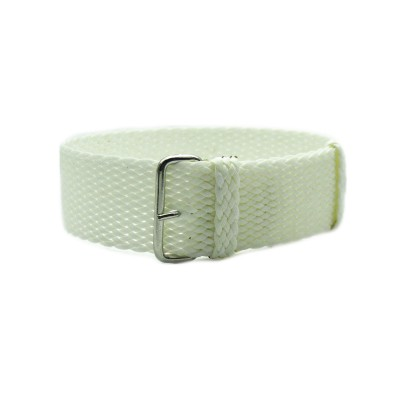 HNS White Perlon Tropic Braided Woven Strap With Brushed Stainless Steel Buckle