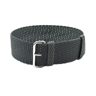 HNS Dark Grey Perlon Tropic Braided Woven Watch Strap With Brushed Stainless Steel Buckle