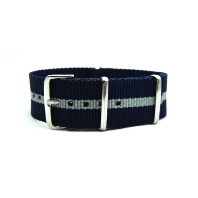 HNS Navy & Grey Strip Heavy Duty Ballistic Nylon Watch Strap With Polished Stainless Steel Buckle
