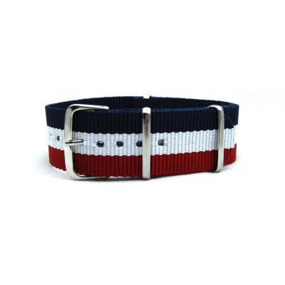 HNS France Flag Red White Blue Strip Heavy Duty Ballistic Nylon Watch Strap With Polished Stainless Steel Buckle