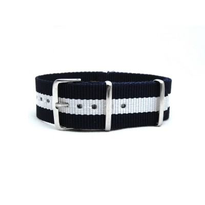 HNS Navy & White Strip Heavy Duty Ballistic Nylon Watch Strap With Polished Stainless Steel Buckle