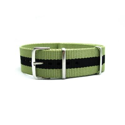 HNS Dark Khaki & Black Strip Heavy Duty Ballistic Nylon  Watch Strap With Polished Stainless Steel Buckle