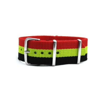 HNS Belgium Flag Red Yellow Black Strip Heavy Duty Ballistic Nylon Watch Strap With Polished Stainless Steel Buckle
