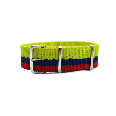 HNS Colombia Flag Yellow Blue Red Strip Heavy Duty Ballistic Nylon Watch Strap With Polished Stainless Steel Buckle