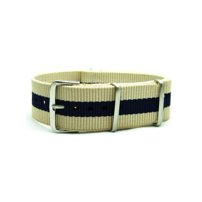 HNS Beige & Navy Strip Heavy Duty Ballistic Nylon Watch Strap With Polished Stainless Steel Buckle