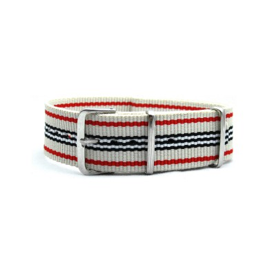 HNS Beige Red Black White Strip Heavy Duty Ballistic Nylon Watch Strap With Polished Stainless Steel Buckle